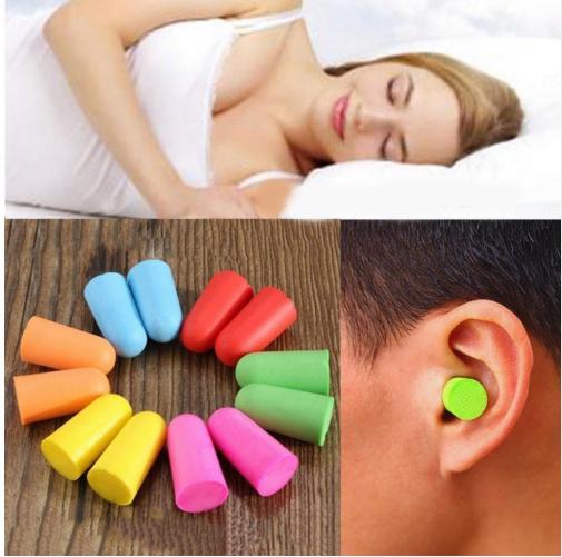 201906 Bag Pack Weichschaum-Ohrstöpsel Konische Reise-Schlafgeräusch-Verhinderung Ohrstöpsel Rauschunterdrückung für Reisen Schlafen (zufällig gesendet) B50Q F