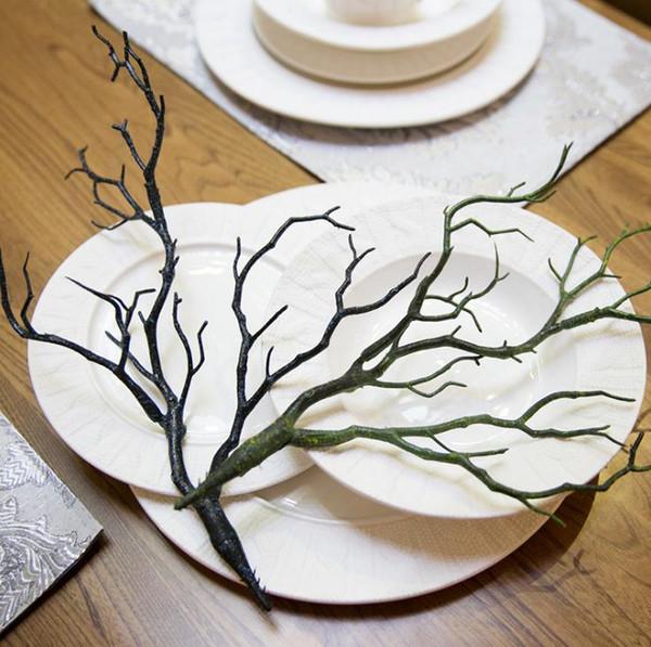 Folhagem falsa Pequenos Ramos Natural Seco PVC Manzanita Planta Artificial Seca Galhos de Árvores Verde Ramo Preto Para Decoração de Casamento