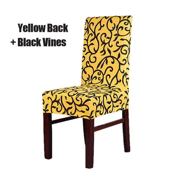 Yellow and Black Stretch Chair Cover