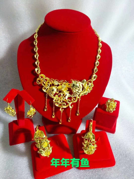 Yulaili Chinese Style Design Gold-color Phoenix Shape Gift Jewelry Sets Necklace Bracelet Earrings Ring Window Jewelry Display