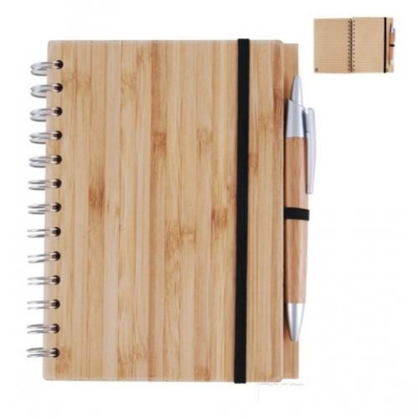 top popular Wood Bamboo Cover Notebook Spiral Notepad With Pen 70 sheets recycled lined paper 2021