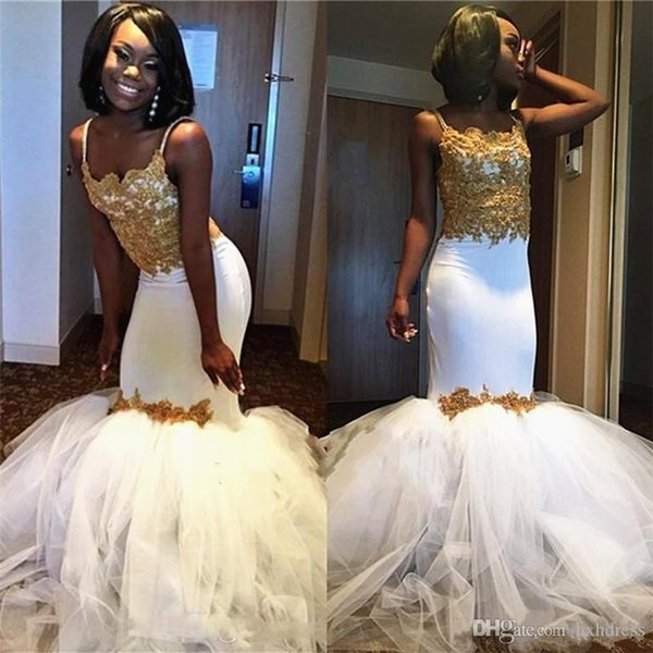 2019 New Sexy White And Gold Mermaid Black Girls Prom Dresses Puffy Ruched Tulle Skirts Spaghetti Straps Occasion Evening Gowns Custom Made