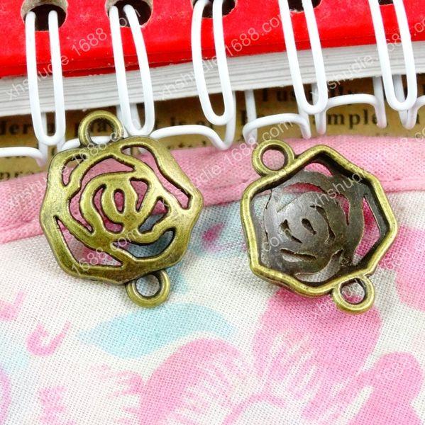 100 adet 16 * 20 MM Antik bronz tibet moda çiçek bağlayıcı charm bilezik vintage metal kolye küpe için el yapımı DIY takı yapımı