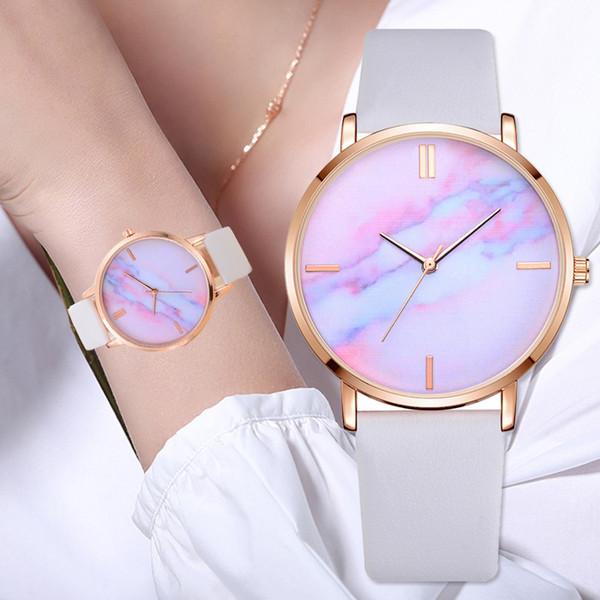 Venta caliente Relojes Mujer Tira de cuero de lujo Marble Dial vestido reloj de cuarzo reloj para damas regalo