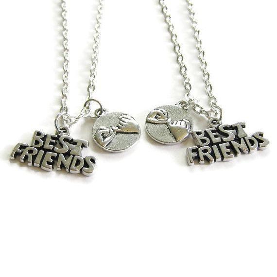 Best Friends Necklace Little Finger Promise Vintage Silver Friendship Necklaces Pendant BFF Partner Couple Jewelry Bohemia 2019 Sale Gift