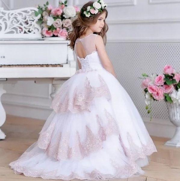 Novo estilo princesa pageant flor menina dress crianças festa de casamento da dama de honra do baile de finalistas das crianças vestido de gna7