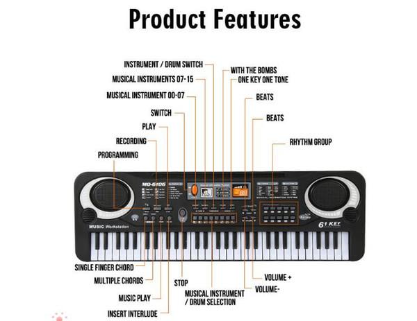 10 pcs ABS 61 touches 16 Sounds 6 Rythmes électrique Clavier multifonctions Mini piano électronique avec Toy Piano Microphone pour les enfants