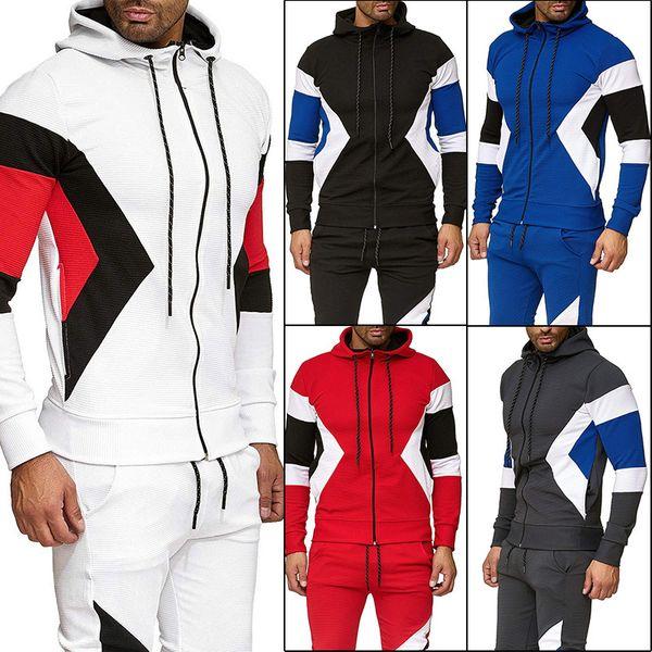 2019 men's wear season personality spelling color even hat zipper sweater male cardigan loose coat wy11