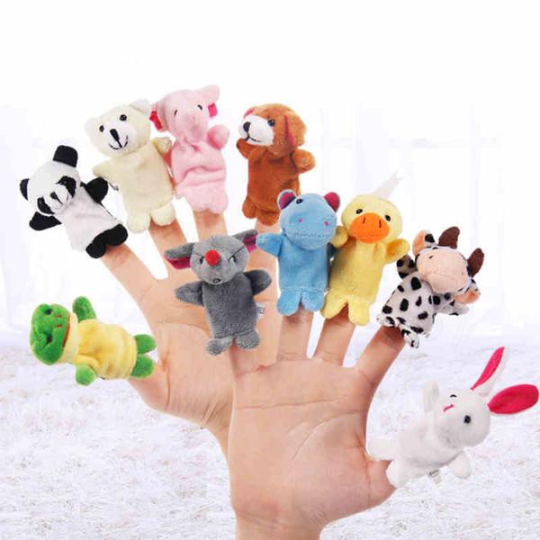 10pcs / lot bebê Stuffed Plush Toy dedo Puppets contar a história animal boneca fantoche de mão Crianças Crianças Presente da família Dolls Dedo crianças brinquedo FFA3452s