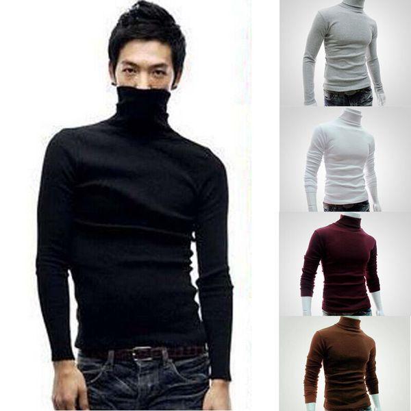Otoño invierno de los hombres de cuello alto suéter caliente grueso punto de los hombres de la nueva marca suéteres Slim Fit Pullover de géneros de punto Ropa de hombres