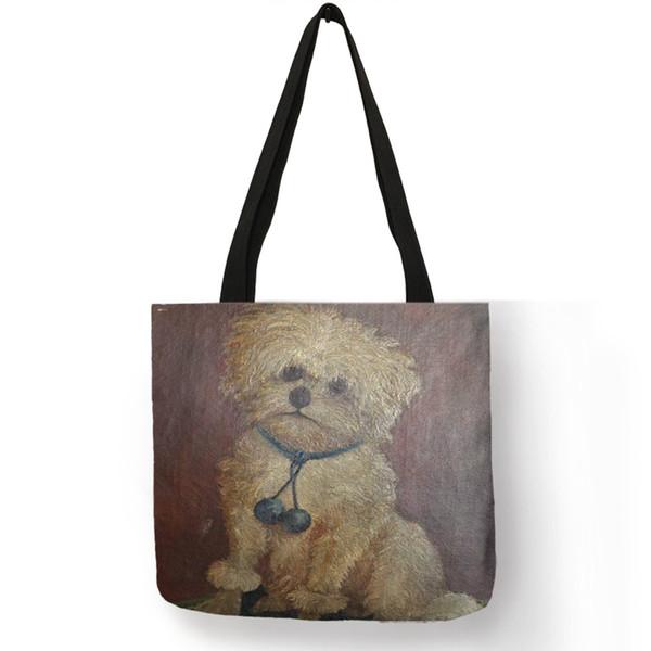 Poodle Dog Art Portrait Printing Shoulder Bag Practical Daily Office Handbags For Women Lady Reusable Shopping Diaper Bags