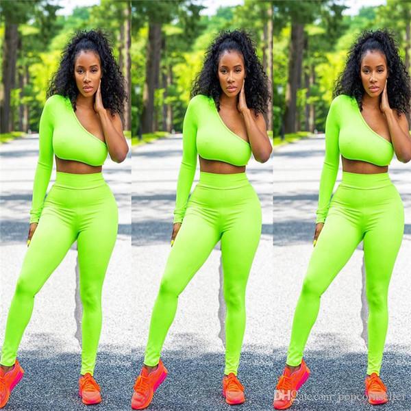 Tute di due pezzi del progettista delle donne Colori fluorescenti Vestiti del progettista Vestiti del pullover Modo Abbigliamento delle brevi donne casuali