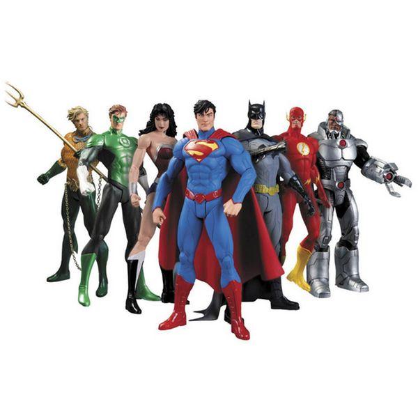 Hot New 7 pz / set 17 cm Justice League Super Hero Avengers Ant-uomo Spider-man Superman Batman Action Figure Giocattoli Bambola