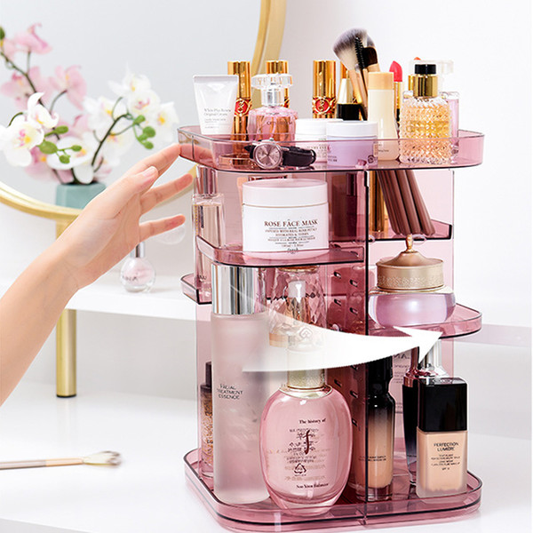 top popular New Fashion 360-degree Rotating Makeup Organizer Rack Brush Holder Jewelry Organizer Case Jewelry Makeup Cosmetic Storage Box Q190430 2019