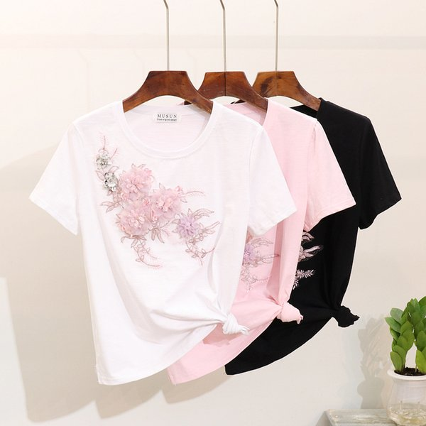 2019 été nouvelle mode fleur t-shirt femmes chemises en coton de haute qualité brodé floral manches courtes t-shirt dames t-shirt