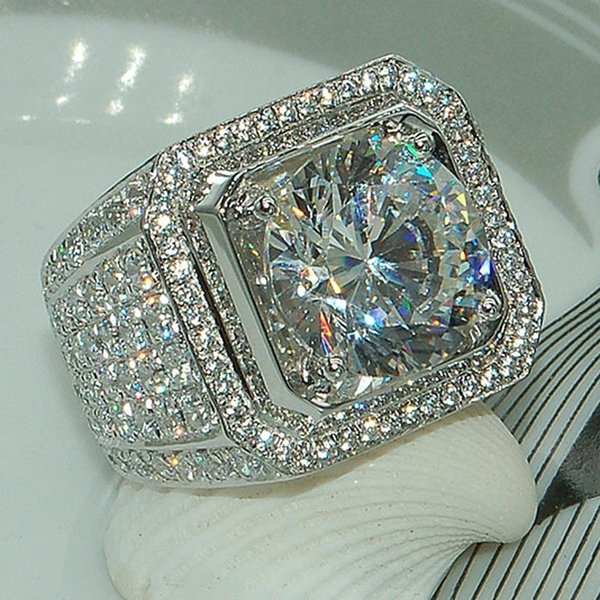 top popular Sale 5-13 White Golden Iced Out HipHop Engagement Rings CZ Pinky Men Women Full Crystal Ring 2019