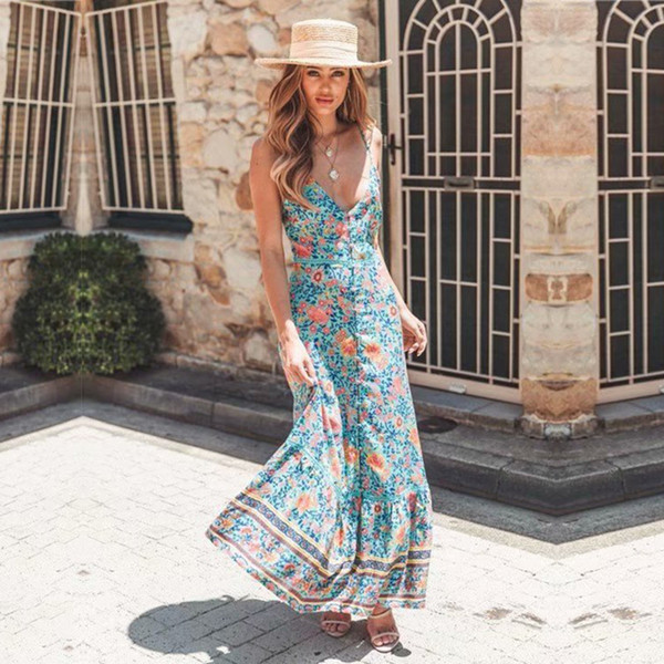 yinlinhe Blue Floral Long Maxi Bohemian Dress Women Cotton Strap V neck Summer Dress Beach Backless Sexy Button Vestido 843