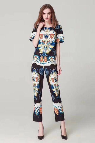 Designer summer clothing ladies suit fashion shirt + trousers Medusa printing women's T-shirt letters tide card hip hop