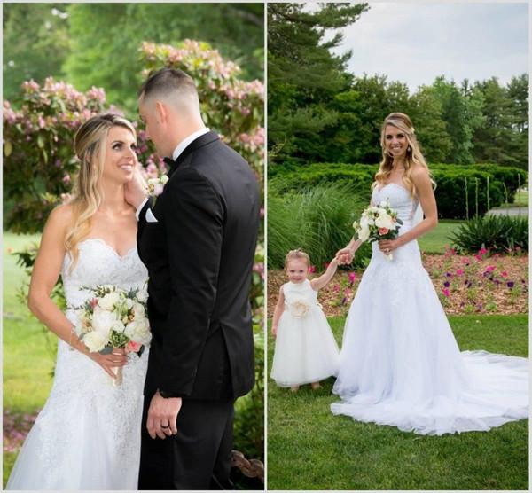 Vestidos de novia bohemios 2019 cariño sin mangas Apliques de encaje Vestidos de novia Corte de tren Una línea de vestido de novia