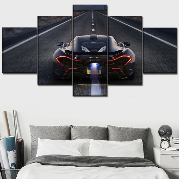 Black Vehicles McLaren P1 Back View,5 Pieces Canvas Prints Wall Art Oil Painting Home Decor (Unframed/Framed)