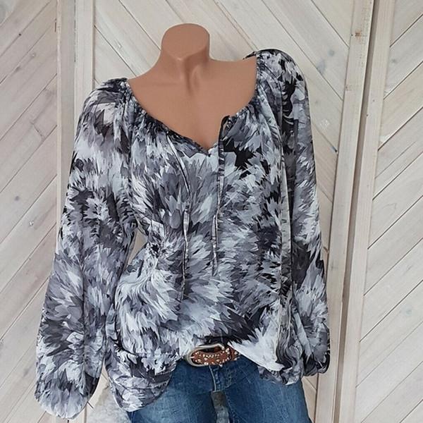 Plus Size 5XL femmes les blouses à manches longues Casual plage en vrac Chemise d'été Blusa d'encre noire Chemisier imprimé V Vêtements cou pour femmes