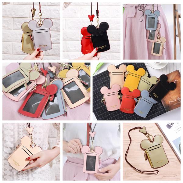10styles Mouse Ear Wallet Kids Purse Bags Girls Zipper Key Card Holder Coin Purse Child Phone Money Pouch Kids lanyard Shoulder Bags FFA2017