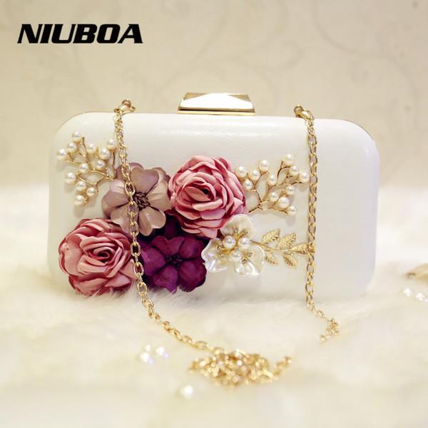 Luxury Crystal Clutch Evening Bag White Black Flower Party Purse Women Wedding Bridal Phone Handbag Pouch Pearl Soiree Pochette