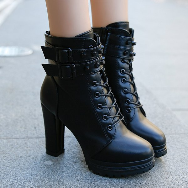 2018 Ankle Boots For Women Lace Up Square Heel Winter Shoes Casual Super High Heel Boots Botas Mujer boots women