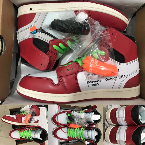 1 OG Tênis De Basquete Dos Homens Chicago vermelho 1S Tênis off das mulheres sapatos de grife UNC Sapatos de Desporto de luxo em pó Azul branco Tamanho 36-47.5