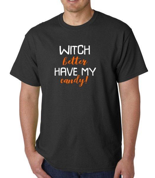La bruja mejor tiene mi camiseta de caramelo Disfraz de Halloween Camiseta Camiseta de manga corta Camiseta Hombre Geek Blanco Camiseta de manga corta personalizada Tamaño grande Pareja T S