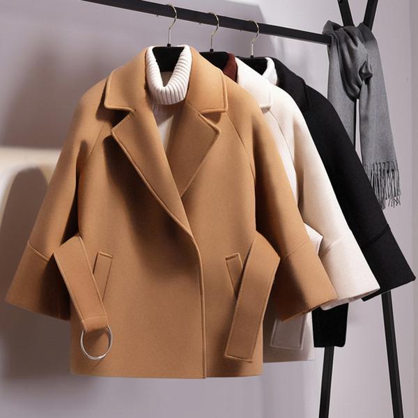Women Wool Coat Blend Jacket Belt Loose Short Coats Elegant Office Lady Vintage Casual Autumn Winter Female OverWear 3/4 Sleeve