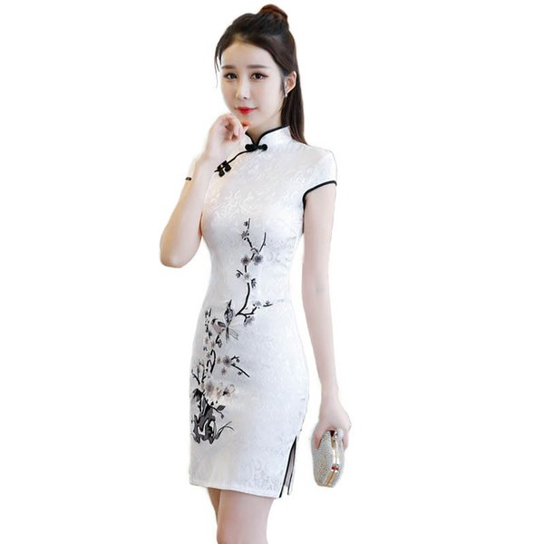 New White Chinese Traditional Women Embroidery Qipao Vintage Cheongsam Novelty Chinese Formal Dress Plus Size S M L XL XXL 3XL