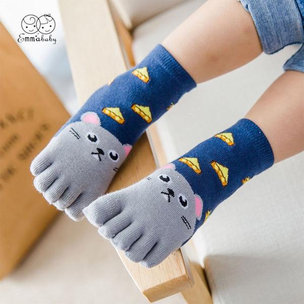 2019 Emmababy New Toddler Baby Bambini Ragazze Ragazzi Animaletti dei cartoni animati Five Fingers Sock Calze calzini calze