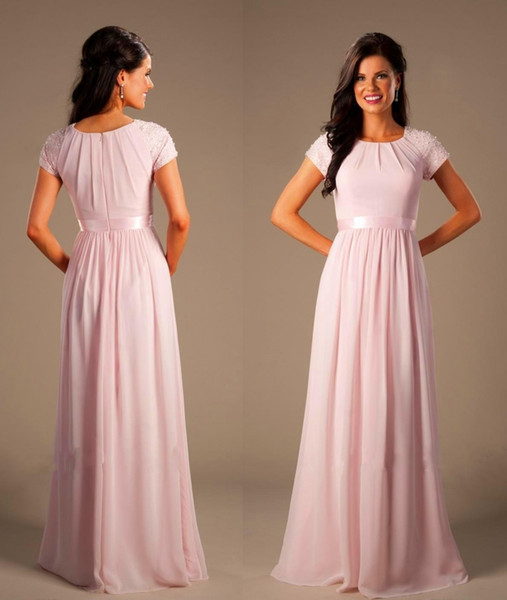 Plus Size Beaded Pink Long Chiffon Modest Bridesmaid Dresses With Cap  Sleeves Elegant Evening Wedding Party Dresses A Line Prom Dresses Rental ...