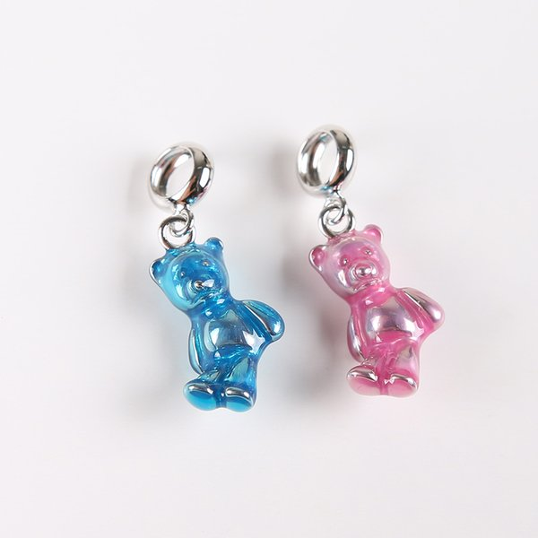 HANZHIXIU 925 Sterling Silver Rhodium Plated Blue Bear Diy Charms Fit For Bracelet and Necklace Factory