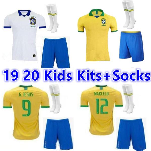 2019 2020 Brasil home Away Jersey Kids Kits+Socks 19 20 Brazil DAVID LUIZ G.JESUS P.COUTINHO MARCELO RONALDINHO DAVID LUIZ Soccer Jersey