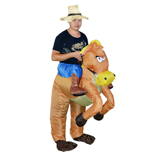 Adult Kids Inflatable Dinosaur Costume Unicorn Cowboy Cosplay Clothes Halloween Costumes for Party Jumpsuit Suit VT0115