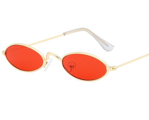 Nuevo Pequeño Oval Gafas de sol Hombres Mujeres Cool Diseñador Estrecho Flaco Diminuto Gafas de sol Elipse Retro Tonos Plata Rojo Venta