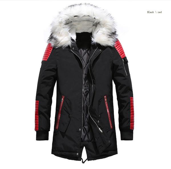 21ccacc73946e пуховик мужчины зимние куртки пальто черный теплый пуховик открытый  капюшоном мех мужские толстые парки плюс размер