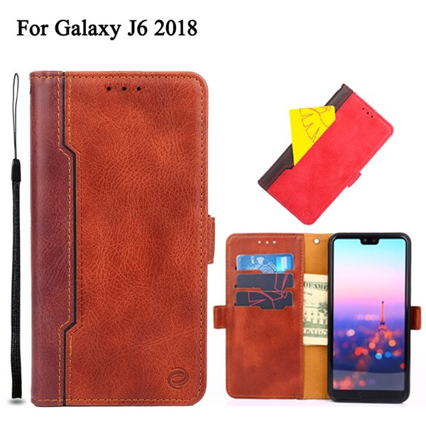 Cuero de la PU Flip Case para Samsung Galaxy J6 J2 2018 Galaxy J2 prime J5 2017 caja de múltiples funciones ranura para tarjeta monedero caja del teléfono