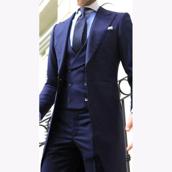 2019 Navy Blue Double Breasted vest Long tail coat Wedding Suits for Men Peaked Lapel Mens Suit Evening Party Gentlemen Tuxedos