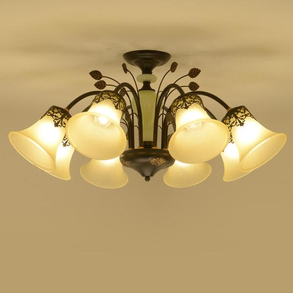 Vintage Black Metal Gold Deco Line Frosted Glass Lampshade Pendant Chandelier Living Room Bedroom Luminaire Lighting Fixture