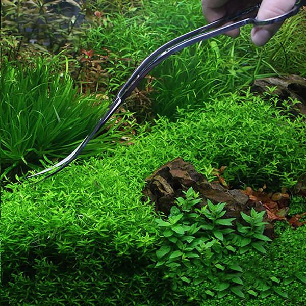Professionnel Aquarium Réservoir De Poissons Aquatique Usine De Nettoyage Outils Pinces Ciseaux Long En Acier Inoxydable Ciseaux Courbé Fournitures Pour Animaux