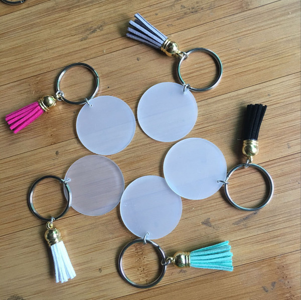 top popular 4cm Blank Disc with 3cm Suede Tassel Vinyl Keyring Lowest Multi Color Available Gold Silver Monogrammed Clear Acrylic Disc Tassel Keychain 2020
