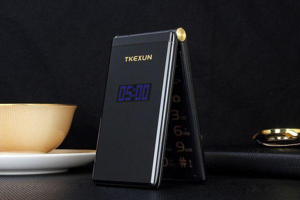 Nuevo y original TKEXUN M2 Flip teléfono celular Cuerpo de metal Senior Luxury Dual Sim Cámara MP3 MP4 3.0 Pulgadas Pantalla táctil Teléfono móvil