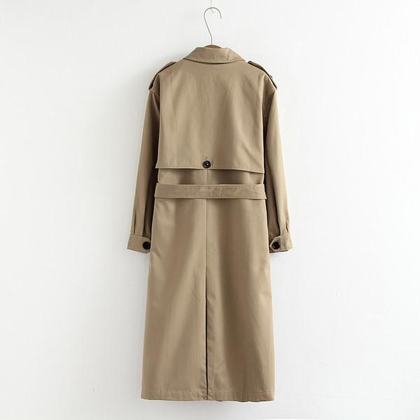Женщины Повседневная Сплошной Цвет Двубортный Верхняя Одежда Пояса Офис Пальто Шикарный Эполет Дизайн Длинный Тренч 902229