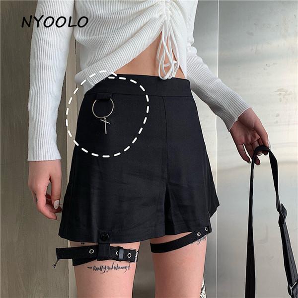 NYOOLO Harajuku Punk Cross Colgante Paquete hip Shorts Verano streetwear Mini cintura pantalones cortos ropa de mujer con anillo de la pierna