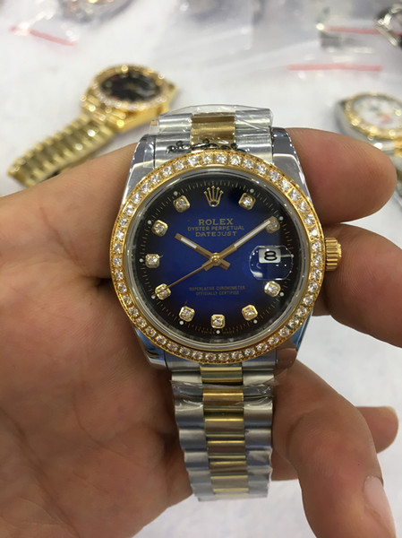 Luxury fa hion watche 18k yellow gold diamond dial bezel 18038 watch automatic mechanical men 039 watch wri twatch