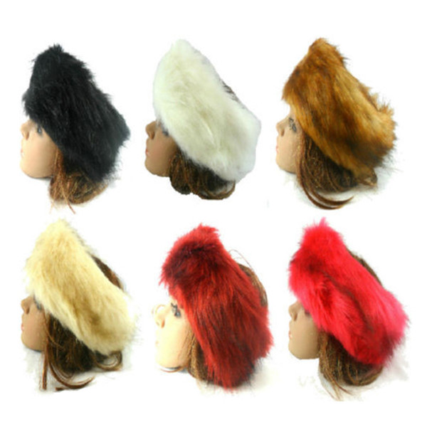 Unisex Large Thick Faux Fake Fur Headwear Euramerican Headband Winter Ear Warm Ski Hat Plush Head Hair Bands C19021601