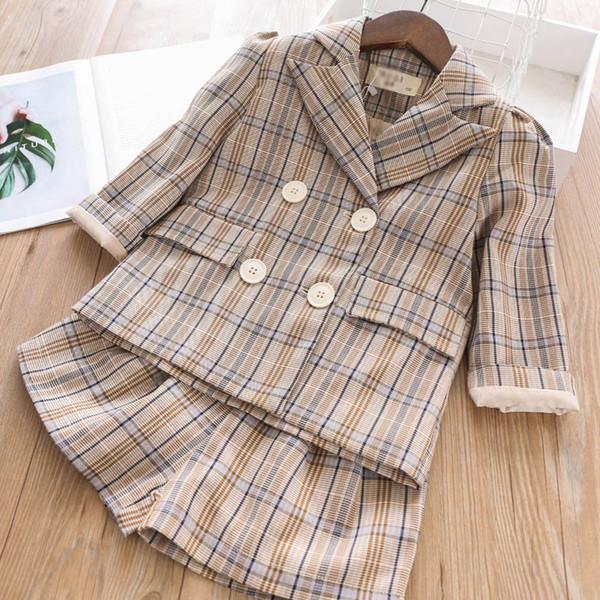 Mode casual filles costumes enfants tenues enfants vêtements de designer filles ensembles manteau vêtements + shorts Printemps Automne 2019 nouveaux grands vêtements pour enfants A7283
